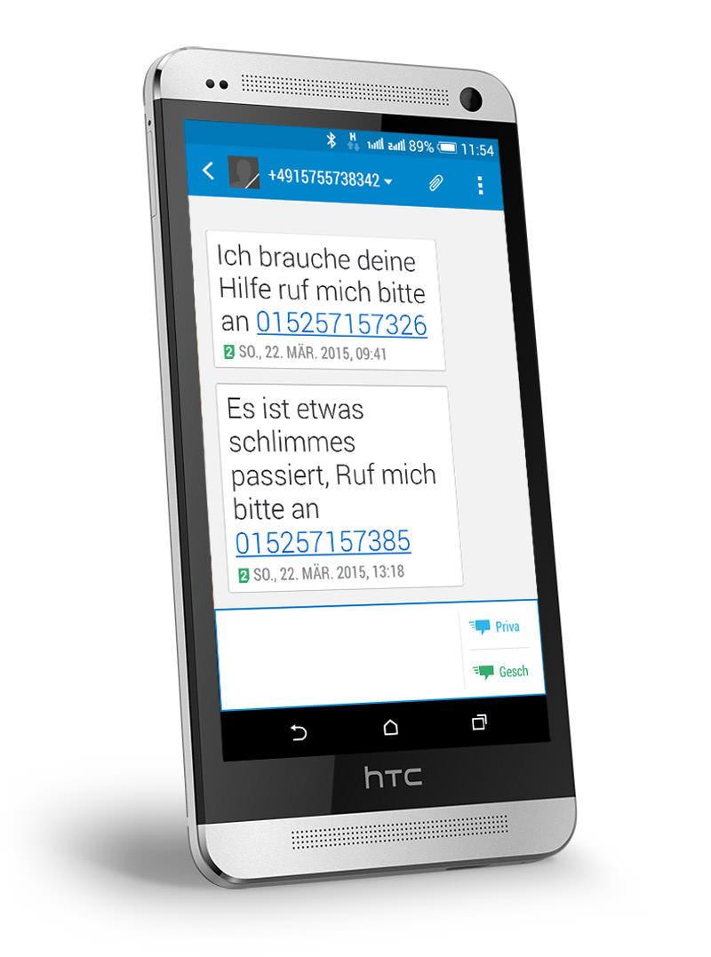 SMS: bitte ruf mich an - dargestellt auf einem HTC One M7