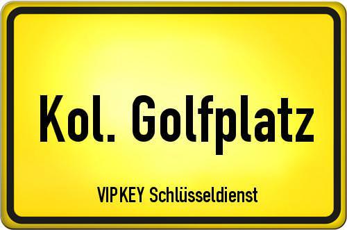 Ortseingangsschild Berlin - Kol. Golfplatz